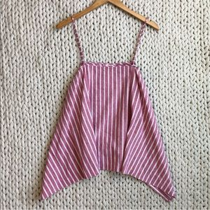 Leith Red and White Striped Tent Tank Top